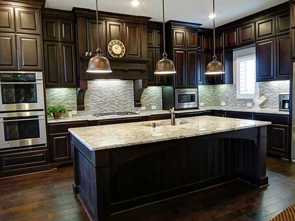Dark Wood Floor Dark Kitchen Cabinet Top Home Design